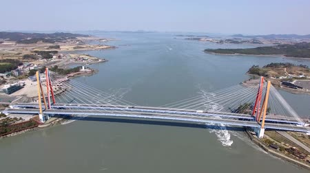 mítosz : Aerial View of Jindodaegyo Bridge, Jindo, Jeonnam, South Korea, Asia