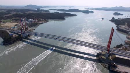 lenda : Aerial View of Jindodaegyo Bridge, Jindo, Jeonnam, South Korea, Asia