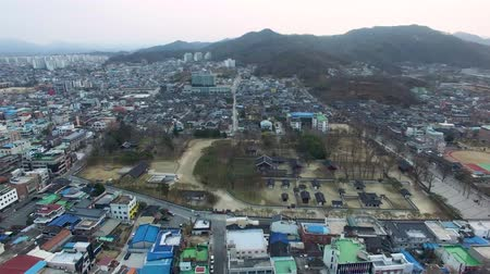 belediye binası : Aerial View of Gyeonggijeon in Jeonju Hanok Village Traditional Korean Town, Jeonju, Jeonbuk, South Korea, Asia Stok Video