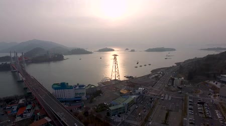 kabel : Aerial View of Sacheon Cable Car, Sacheon, Gyeongnam, South Korea, Asia Videos