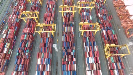 Aerial View of Container Port, Busan, South Korea, Asia.