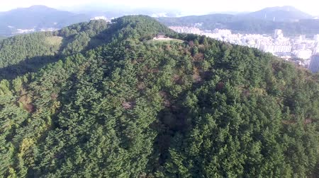 Aerial View of Bukporu Pavilion North Gate of Tongyeong, Gyeongnam, South Korea, Asia. Wideo