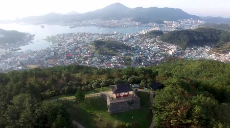 Aerial View of Bukporu Pavilion North Gate of Tongyeong, Gyeongnam, South Korea, Asia. Стоковые видеозаписи