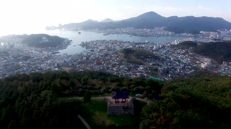 tongyeong : Aerial View of Bukporu Pavilion North Gate of Tongyeong, Gyeongnam, South Korea, Asia. Stock Footage