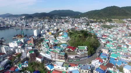 Aerial View of Dongpirang Mural Village of Tongyeong, Gyeongnam, South Korea, Asia.