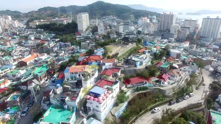 tongyeong : Aerial View of Dongpirang Mural Village of Tongyeong, Gyeongnam, South Korea, Asia.