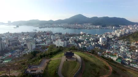 Aerial View of Seopirang Pavilion of Tongyeong, Gyeongnam, South Korea, Asia.