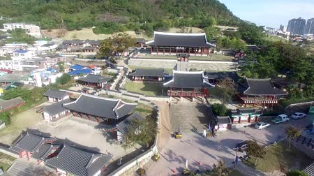 tongyeong : Aerial View of Korean Traditional House in Tongyeong, Gyeongnam, South Korea, Asia Stock Footage