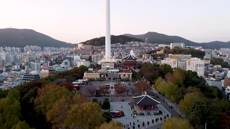Aerial View of Busan Tower in Yongdusan Park, Busan, south Korea, Asia