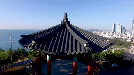 Aerial View of Haemaru Pavilion and Cheongsapo Port, Haeundae, Busan, Korea, Asia.