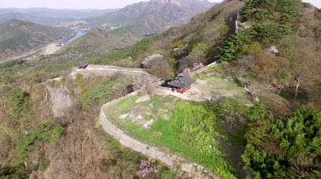 korejština : Aerial View of Geumseong Mountain Fortress, Damyang, Jeonnam, South Korea, Asia