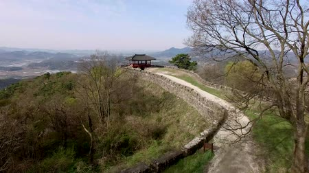 cam : Aerial View of Geumseong Mountain Fortress, Damyang, Jeonnam, South Korea, Asia