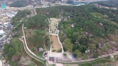 rampart : Aerial View of Gochang Eupseong Fortress, Jeonbuk, South Korea, Asia Stock Footage