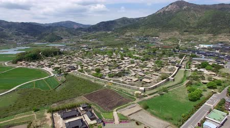 jeollanamdo : Aerial View of Nakan Eupseong Fortress, Suncheon, Jeonnam, South Korea, Asia. Stock Footage