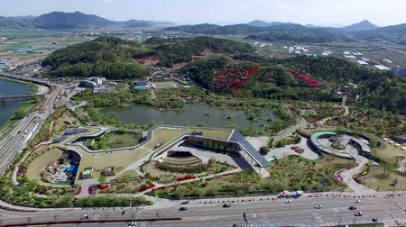 jeollanamdo : Aerial View of Suncheonman Bay National Garden, Suncheon, Jeonnam, South Korea, Asia. Stock Footage