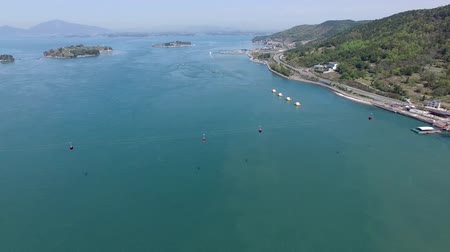 gyrophare : Aerial View of Sacheon Sea, Sacheon, Gyeongnam, South Korea, Asia. Vidéos Libres De Droits