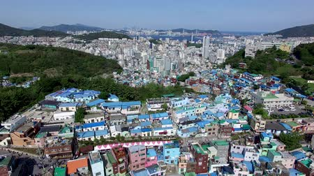 peoples : Aerial View of Gamcheon Culture Village, Sahagu, Busan, South Korea, Asia. Stock Footage