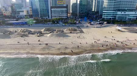 korejština : Aerial View of Haeundae Beach Sand Festival, Busan, South Korea, Asia.