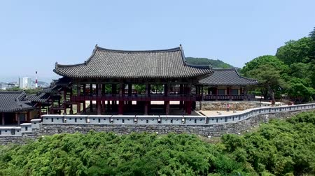 パビリオン : Aerial View of Yeongnamru Pavilion in Milyang, Gyeongnam, South Korea, Asia