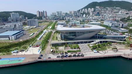 marine park : Aerial View of Yeongdo Island, Busan, South Korea, Asia Stock Footage