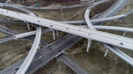 the suspension bridge : Hyperlapse Aerial View of Highway Traffic of Daegam JC, Gimhae, Gyeongnam, South Korea, Asia.