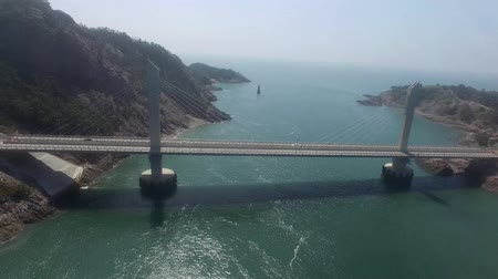 jeollanamdo : Aerial View of Bridge in Saemangeum Seawall, Jeonnam, South Korea, Asia Stock Footage
