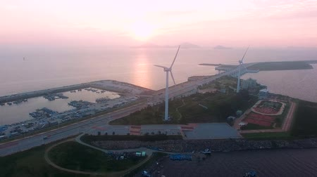 jeollanamdo : Aerial View of Saemangeum Seawall Sunset, Jeonnam, South Korea, Asia Stock Footage