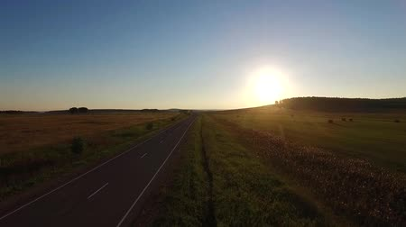 путешествие : Aerial view above asphalt road in the field on the sunset Стоковые видеозаписи