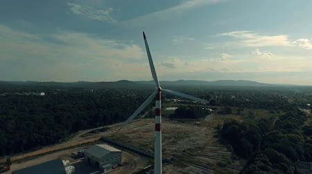 sustainable resources : Aerial view of windmill in countryside,wind energy turbine, alternative renewable energy production