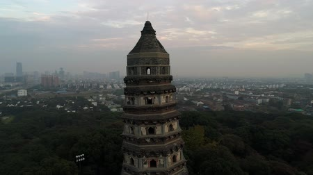 archeologie : Aerial over old historical stone buddhist temple on sunset, Asia, religion