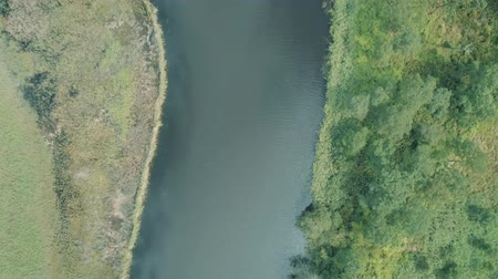 horská pastvina : Aerial drone vertical view beautiful natural scenery of green meadow with river