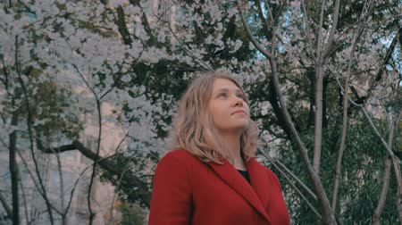 аромат : Gimbal steadicam shot of attractive blonde girl in a red coat standing in the sakura alley, enjoying the scent of blooming trees.