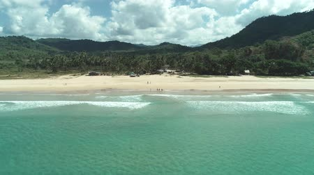 havaiano : Aerial drone view of tropical paradise beach with white sand and turquoise crystal clear sea water