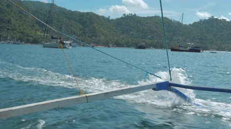 philippine : Bangka boat details, traditional Philippine sailing boat, Palawan, Philippines. Travel concept.