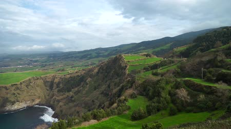 sao miguel : Beautiful panoramic view over Sao Miguel Island and Atlantic ocean Stock Footage