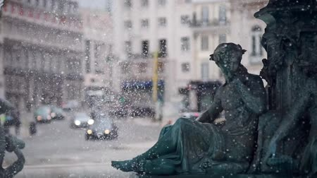 baixa : Fountain at Rossio square in the heart of Lisbon in slow motion