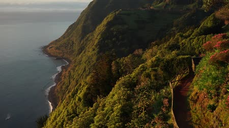 sao miguel : Beautiful panoramic view over Sao Miguel Island and Atlantic ocean at sunrise