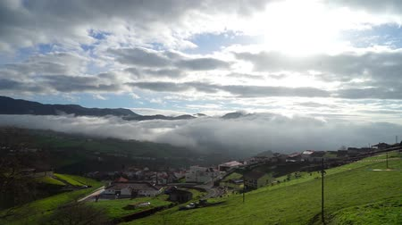the azores : Azores landscape aerial view of nice village near green hills Stock Footage