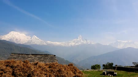 tybet : Time lapse of Annapurna Range with Fish Tail mountain (Machapuchare Mountain) ,Himalayas