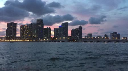 equinox : Time lapse of the sunset over the Miami skyline Stock Footage