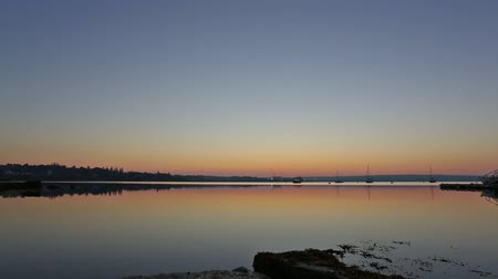chaluha : Video with a wide view of the dawn sky with boats on Penobscot Bay in Searsport, Maine with seaweed in the foreground.