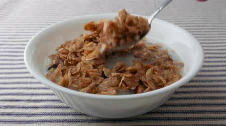 enrolado : A bowl of pecans, raisins and dates breakfast cereal with skim milk on a striped table cloth being eaten.