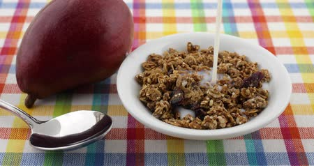 światłowód : A bowl of organic cranberry and nut granola cereal with skim milk being added plus a spoon and a ripe pear to the side for a healthy breakfast meal. Wideo