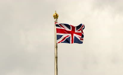Time Lapse Tilt Shift of The Union Jack flying on a cloudy day