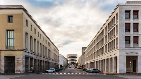 Time Lapse in the neoclassical architecture at the EUR district in Rome, Italy