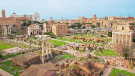 Tilt shift time lapse with a scenic view over the ruins of the Roman Forum in Rome, Italy