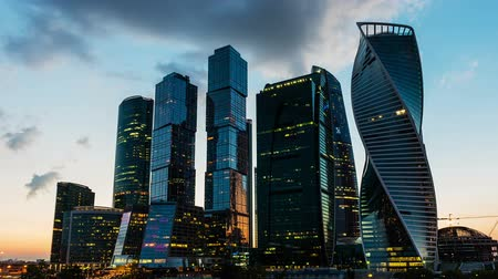 Scenic time lapse with sunset over the skyscrapers of the Moscow City International Business Center, Russia