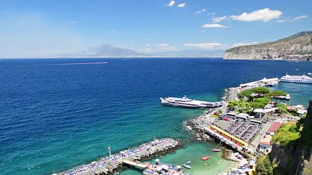 Aerial view of Mount Vesuvius and the town of Sorrento, Bay of Naples, Italy. Panning shot