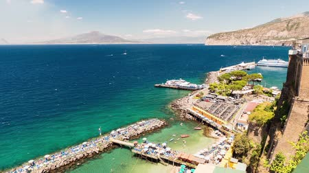 Timelapse with aerial view of Mount Vesuvius and the town of Sorrento, Bay of Naples, Italy. Seemless loop video