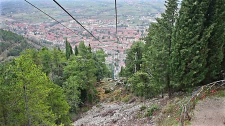 Cableway with a scenic cityscape over the roofs of Gubbio, one of the most beautiful medieval towns in central Italy